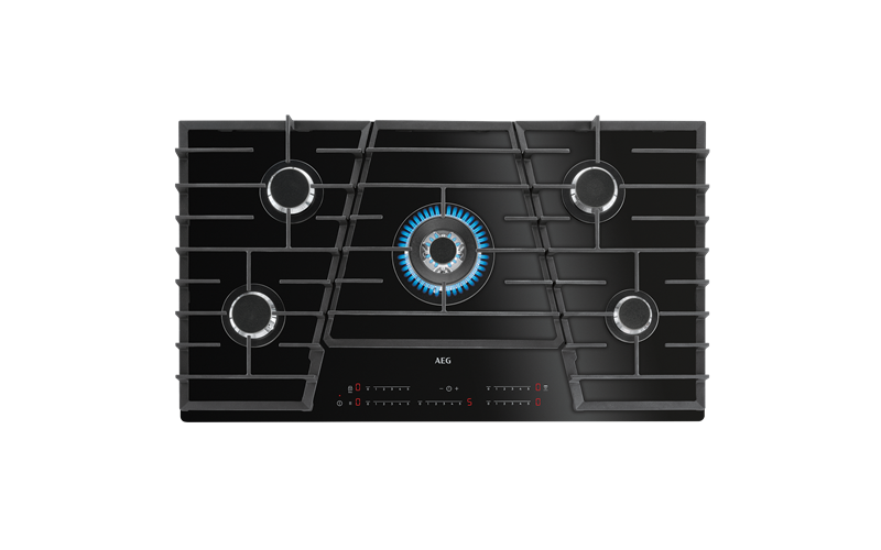 AEG 90cm TouchSure 5 burner gas on ceramic glass cooktop HVB95450IB