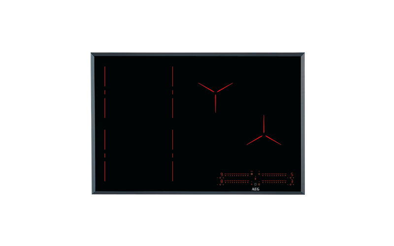 AEG 80cm 4 zone Pure black induction cooktop IPE84571FB