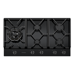 90cm 5 burner black tempered glass gas cooktop