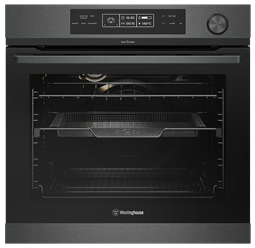 60cm multi-function 14 pyrolytic oven with Steam Assist Cooking, dark stainless steel