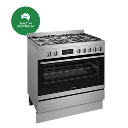 90cm dual fuel freestanding cooker, stainless steel
