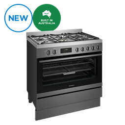 90cm dual fuel pyrolytic freestanding cooker with EasyBake +Steam and AirFry, dark stainless steel
