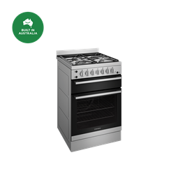 60cm gas freestanding cooker with separate grill, stainless steel