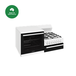 Elevated gas freestanding cooker with separate grill, white