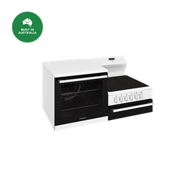 Elevated electric freestanding cooker with separate grill, white