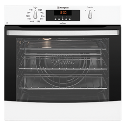 White multifunction PyroClean oven with rotary controls and touch control timer