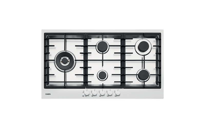 AEG 90cm Stainless Steel Gas Cooktop HG90FXA