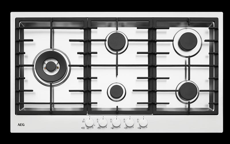 AEG 90cm 5 burner stainless steel gas cooktop HG90FXA